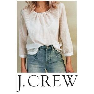 NEW Gingham White Blouse J. Crew Shirt Gold Button